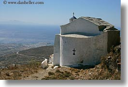 churches, europe, greece, horizontal, ocean, scenics, tinos, views, white wash, photograph