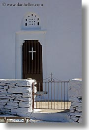 churches, crosses, doors, europe, gates, greece, tinos, vertical, white wash, photograph