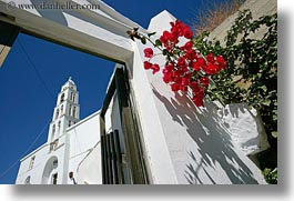 bell towers, bougainvilleas, buildings, churches, europe, gates, greece, horizontal, red, structures, tinos, white wash, photograph
