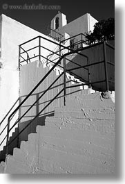 bell towers, black and white, buildings, churches, europe, greece, railing, stairs, structures, tinos, vertical, white wash, photograph