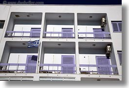 apartments, blocks, europe, greece, horizontal, purple, shutters, tinos, photograph