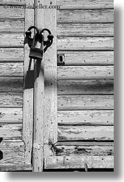 black and white, europe, greece, irons, locks, old, painted, shutters, tinos, vertical, white wash, photograph