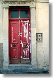 doors, europe, greece, paint, red, tinos, vertical, white, photograph