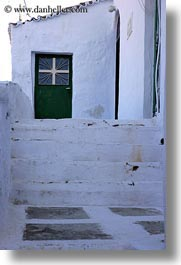 crosses, doors, europe, greece, green, stairs, tinos, vertical, white wash, photograph
