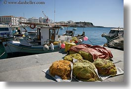 boats, europe, greece, harbor, horizontal, nets, tinos, photograph