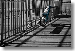 bars, black and white, blues, europe, greece, horizontal, motor, scooter, shadowy, tinos, photograph