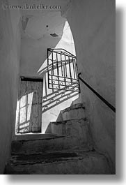 black and white, europe, gates, greece, irons, stairs, tinos, vertical, white wash, photograph