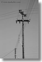 black and white, europe, greece, poles, telephones, tinos, vertical, wires, photograph