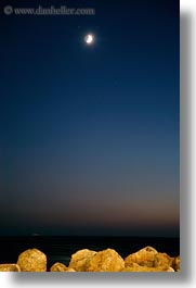 europe, greece, long exposure, moon, nite, oceean, rocks, stars, tinos, vertical, photograph