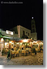 europe, greece, nite, outdoors, restaurants, tinos, vertical, photograph