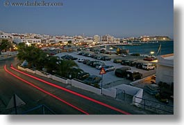 europe, greece, horizontal, light streaks, lots, nite, parking, slow exposure, tinos, towns, photograph