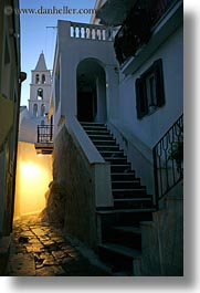 bell towers, dusk, europe, greece, nite, slow exposure, stairs, tinos, vertical, photograph