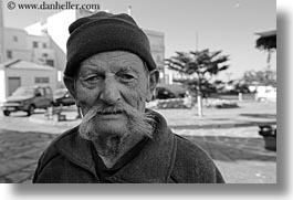 black and white, europe, greece, horizontal, men, mustache, old, people, tinos, white, photograph