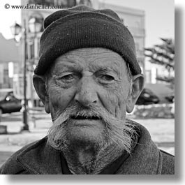 black and white, europe, greece, men, mustache, old, people, square format, tinos, white, photograph