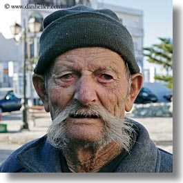 europe, greece, men, mustache, old, people, square format, tinos, white, photograph