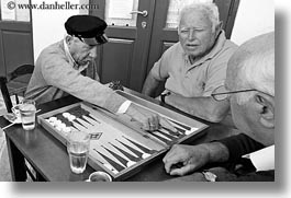 backgammon, black and white, europe, greece, horizontal, men, old, people, playing, tinos, photograph