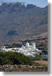 churches, europe, greece, mountains, scenics, tinos, towns, vertical, photograph
