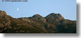 europe, greece, half, horizontal, moon, mountains, panoramic, scenics, tinos, photograph