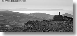 black and white, europe, greece, horizontal, monument, panoramic, scenics, stones, tinos, photograph