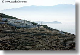 europe, greece, hills, horizontal, islands, ocean, scenics, tinos, towns, photograph
