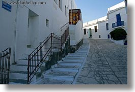 europe, greece, horizontal, stairs, steep, streets, tinos, towns, photograph