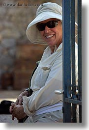 barbara, clothes, emotions, europe, greece, happy, hats, people, senior citizen, smiles, sunglasses, tourists, vertical, womens, photograph