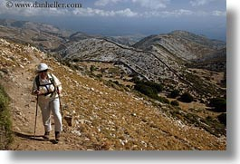 barbara, clothes, europe, greece, hats, hiking, horizontal, people, senior citizen, sunglasses, tourists, womens, photograph