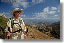barbara, clothes, emotions, europe, greece, happy, hats, hiking, horizontal, people, senior citizen, smiles, sunglasses, tourists, womens, photograph