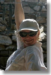 blonds, carol, clothes, emotions, europe, greece, happy, hats, people, senior citizen, smiles, smiling, sunglasses, tourists, vertical, womens, photograph