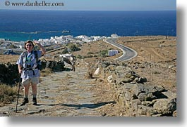 europe, greece, hiking, horizontal, joyce, joyce rao, ocean, people, scenics, senior citizen, tourists, womens, photograph