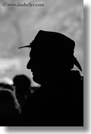 black and white, clothes, europe, glasses, greece, hats, men, people, richard, silhouettes, tourists, vertical, photograph