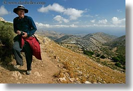 artists, cameras, clothes, clouds, emotions, europe, glasses, greece, hats, hiking, hills, horizontal, men, nature, people, photographers, scenics, senior citizen, sky, smiles, tom, tom sue, tourists, photograph