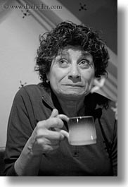 angela, angela lo re, black and white, coffee, cups, europe, groups, hungary, people, senior citizen, vertical, womens, photograph