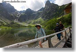 across, bridge, clothes, emotions, europe, groups, hats, horizontal, hungary, lindas, mountains, nature, smiles, snowcaps, walking, photograph