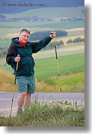 emotions, europe, gray, groups, hair, harvey linda weiner, harveys, hiking, hungary, men, people, poles, senior citizen, smiles, vertical, photograph