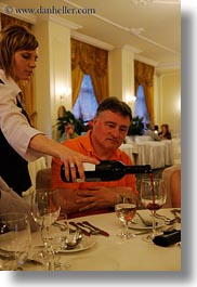 europe, groups, harvey linda weiner, hungary, men, people, pouring, senior citizen, vertical, waitress, wines, womens, photograph