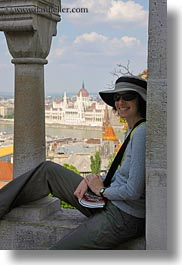 brunette, budapest, clothes, emotions, europe, groups, hair, hats, hungary, lori, people, smiles, sunglasses, vertical, womens, photograph