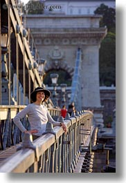 bridge, brunette, chains, clothes, emotions, europe, groups, hair, hats, hungary, lori, people, smiles, vertical, womens, photograph