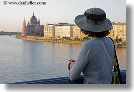 brunette, danube, europe, groups, hair, horizontal, hungary, lori, over, parliament, people, rivers, viewing, womens, photograph