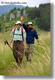 clothes, europe, groups, hats, hiking, hungary, marilyn, marilyn philip warden, men, people, philip, senior citizen, sunglasses, vertical, womens, photograph