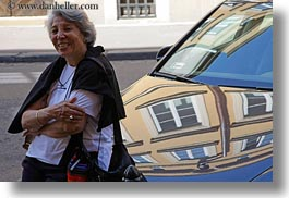 cars, emotions, europe, gray, groups, hair, happy, horizontal, hungary, leaning, people, reflective, senior citizen, smiles, womens, yona, yona davis, photograph