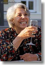 emotions, europe, glasses, gray, groups, hair, happy, hungary, people, senior citizen, smiles, vertical, wines, womens, yona, yona davis, photograph