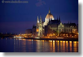budapest, buildings, domes, europe, horizontal, hungary, nite, parliament, slow exposure, structures, photograph