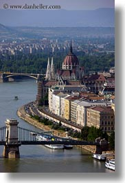 bridge, budapest, buildings, domes, europe, hungary, parliament, rivers, structures, vertical, views, photograph