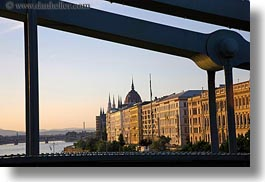bridge, budapest, buildings, chains, domes, europe, horizontal, hungary, parliament, structures, photograph