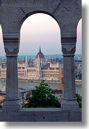 arches, budapest, buildings, domes, europe, hungary, parliament, structures, vertical, views, photograph