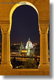 arches, budapest, buildings, domes, europe, hungary, long exposure, parliament, structures, vertical, views, photograph