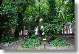 budapest, buildings, cemetary, europe, graves, horizontal, hungary, ivy, synagogue, trees, photograph