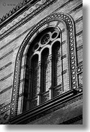 archways, black and white, budapest, buildings, europe, exteriors, hungary, structures, synagogue, vertical, windows, photograph