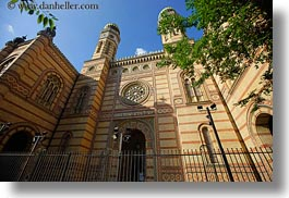 archways, budapest, buildings, clock tower, europe, exteriors, facades, horizontal, hungary, structures, synagogue, towers, photograph